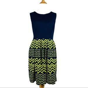 Navy Blue and Green Dress